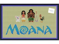 Moana & Friends Cross Stitch DIGITAL PDF pattern by knottybytes. Maui, Pua, Hei Hei, Moana, Disney Cross Stitch Pattern. $5