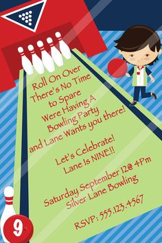 Bowling Party Invitation-Bowling Digital Invitation-Bowling Birthday Party Invitation-DIY-Bowling Invite-Customized-Bowling Party Favors on Etsy, $7.00