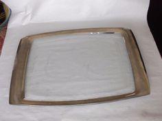 """Annieglass Roman Antique Platinum Rectangular Tray, 18.25"""" x 11.75"""", VGUC #Modern"""