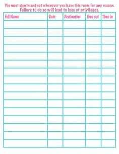 Freebie  Classroom Sign Out Sheet Students Have To Write Time