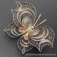 1950's Italy Silver Filigree Butterfly Brooch Pin