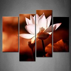 Create a relaxing refuge in your home with lotus flower wall art. You can use lotus flower wall decor in any room of your home but especially bedrooms, living rooms and bathrooms.  Although I love it in my office.  You can find cute lotus flower clocks, lotus flower wall tapestries, lotus flower wall decals, lotus flower wall murals that loook cute. First Wall Art - 4 Panel Wall Art Pink Lotus Flower Blossom At Night Painting Pictures Print On Canvas Flower