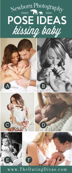 Precious Newborn Photography Pose Ideas with Parents Kissing Baby #ParentingNewborn