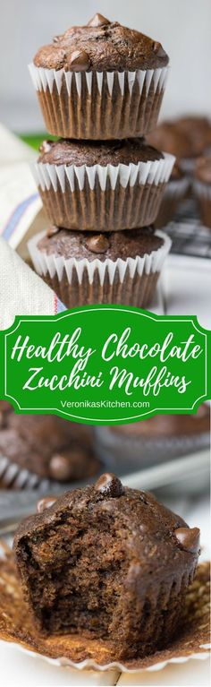 Healthy Chocolate Zucchini Muffins recipe is an easy healthy dessert that is packed with nutrients. Healthy baking can be easy and tasty!