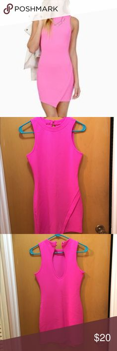 Tobi pink mini bodycon dress The actual color is a shade of pink in between the model picture and the hanging picture. Not hot pink, not light pink Tobi Dresses Mini