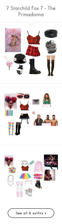 """""""🎬 Starchild Fox 🎬 - The Primadonna"""" by iron-maiden-amy ❤ liked on Polyvore featuring Ashish, Funk Plus, Dr. Martens, Off-White, WWE, NXT, wweoc, wweattire, wweocattire and Abbey Dawn"""