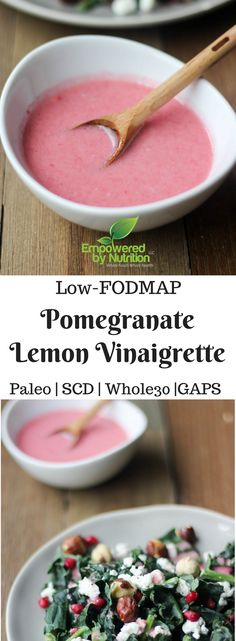 This healthy superfood vinaigrette dressing recipe takes only a few minutes to make, but adds loads of nutrition and cancer fighting properties to any salad! It's Paleo, Low-FODMAP, SCD and legal! Endive Recipes, Pomegranate Recipes, Lemon Vinaigrette, Vinaigrette Dressing, Crohns Recipes, Paleo Recipes, Coffe Recipes, Breakfast Recipes, Dips