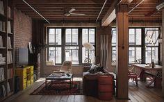 Sala com elementos industriais