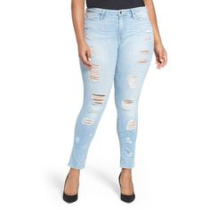 Women's Good American Good Legs Destroyed Skinny Jeans ($205) ❤ liked on Polyvore featuring jeans, plus size, white distressed jeans, ripped skinny jeans, plus size white skinny jeans, distressed skinny jeans and denim skinny jeans