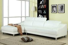 Ohn White Bonded Leather Sectional Set