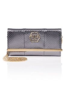 "PHILIPP PLEIN Clutch ""Gilda"". #philippplein #bags #leather #clutch #shoulder bags #lining #hand bags #cotton #"