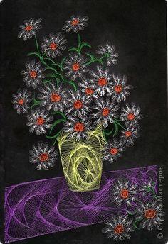 Картина панно рисунок Изонить изонить Нитки фото 13