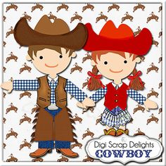 Cowboy Scrapbook Kit with Cowgirl and Digital by DigiScrapDelights,