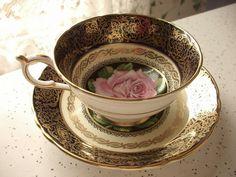 Antique Paragon pink rose tea cup set blue tea by ShoponSherman
