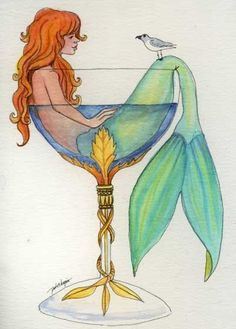 mermaid in a glass. :)  Unreadable artist name on the picture. Unknown original post,
