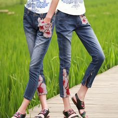 #Swanmarks Liebo New 2012 Embroidery Slim Cut Tapered Seven-eights Jeans