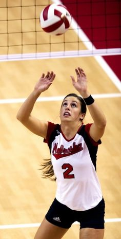 Nebraska senior Lauren Cook sets up a teammate during a game against Michigan State on Wednesday, Sept. 26, 2012, at the NU Coliseum.
