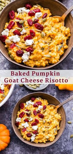 Hypoallergenic Pet Dog Food Items Diet Program Baked Pumpkin Goat Cheese Risotto Is So Creamy And Full Of Fall Flavors Top It With Dried Cranberries, Pepitas And Extra Crumbles Of Goat Cheese For An Easy Fall Side Dish. Savory Pumpkin Recipes, Baked Pumpkin, Pumpkin Dishes, Fall Dinner Recipes, Thanksgiving Recipes, Fall Vegetarian Recipes, Healthy Fall Recipes, Goats Cheese Risotto, Quiche Chorizo