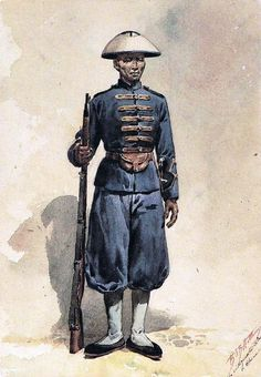 Native Soldier of Portuguese Garrison of Macao (China) - 1902