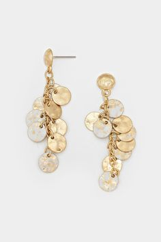 These earings are too pretty - Dangly White Patina Clusters