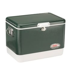 The Coleman Steel-Belted Cooler combines the classic, world-famous Coleman design with the long-lasting strength and durability of stainless steel construction. The 54-Quart Cooler holds 85 cans. It features a solid-steel latch to securely protect and seal the contents, and stainless-steel handles with rubber grips so it-Inchs comfortably to carry. A built-in rustproof, leak-resistant channel drain provides easy, no-tilt draining. Rust-resistant hinges and screws protect against corrosion…