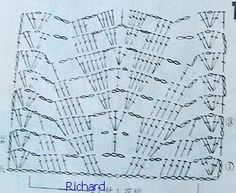 Broad Leaflet Lace / Scarf pattern chart. Many applications of this pattern on site. One of them in adjoining pin : http://pinterest.com/pin/431501208018153727/