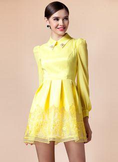 Yellow Long Sleeve Contrast Organza Dress