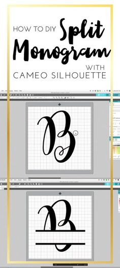 How to DIY Split Monogram With Cameo Silhouette Studio by C. Design How to DIY Split Monogram with Came Silhouette. How to make Split monogram by yourself! Cameo Silhouette and split monogram. Silhouette Cameo Tutorials, Cajas Silhouette Cameo, Plotter Silhouette Cameo, Free Silhouette Designs, Free Silhouette Files, Silhouette Cameo Freebies, Silhouette Fonts, Silhouette Cameo Machine, Free Monogram