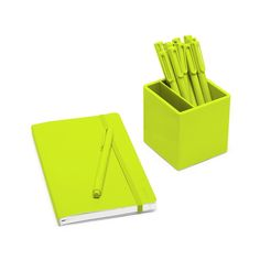 Poppin Lime Green Best Day Ever Set Notebook Pens Pen Cup Desk