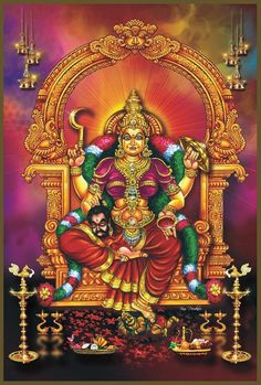 Amman or Aatha is a form of Hindu Mother Goddess Adi Shakti. She is widely worshiped in the South Indian states. Shiva Parvati Images, Durga Images, Lord Shiva Hd Images, Lakshmi Images, Shiva Hindu, Shiva Shakti, Hindu Deities, Indian Goddess, Mother Goddess