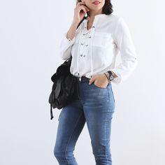 top blanc à lacets Elora (chemise Laïus et jean Lejean by Elora)