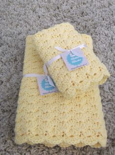 Crochet Baby Blanket - Gift Set - Buttercup Yellow - Boy or Girl