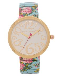 Betsey Johnson Watch, Women's Printed Rose Stainless Steel Expansion Bracelet 36mm BJ00039-06 - All Watches - Jewelry & Watches - Macy's