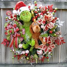 The Grinch and his reindeer dog Max Christmas Wreath, by IrishGirlsWreaths, SOLD!