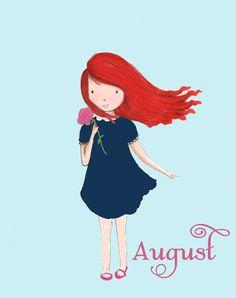 Children's Wall Art -- Little Miss August. $20.00, via Etsy, Rose Hill Design Studio