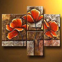 Wieco Art Golden Poppies On Golden Texture Modern Stretched and Framed Flowers Artwork 4 Panels 100 Hand Painted Abstract Floral Oil Paintings on Canvas Wall Art Ready to Hang for Living Room Bedroom Home Decorations Modern Canvas Art, Abstract Canvas Art, Oil Painting Abstract, Texture Painting, Modern Wall Art, Canvas Wall Art, Oil Paintings, Bedroom Canvas, Framed Canvas