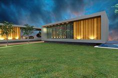 """Projeto Diana Brooks - Casa das Braúnas, uma casa de campo projetada em equilibrio com a morfologia circundante, os volumes horizontais """"desaparecem"""" no terreno."""