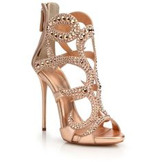 Giuseppe Zanotti Crystal-Embellished Metallic Leather Sandals found on Polyvore featuring polyvore, women's fashion, shoes, sandals, heels, sapatos, caged heel sandals, open toe sandals, leather sandals and metallic sandals