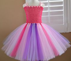 Custom Made Multi Color Pink and Purple Basic Tutu dress by 1583Designs with straps child all sizes any colors birthday party portraits flower girl wedding special occasion tulle photo prop