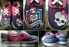 Monster High DIY Shoes! These were an absolute joy to make for my boyfriends daughter!