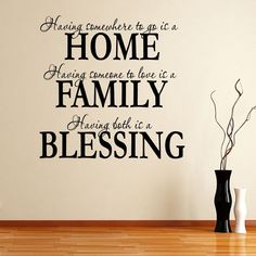 AmazonSmile - Having Somewhee to Go Is a Home Family Blessing Wall Decal Quote Sticker Living Room Decor Wide 60cm High 60cm Black Color - Nursery Wall Decor