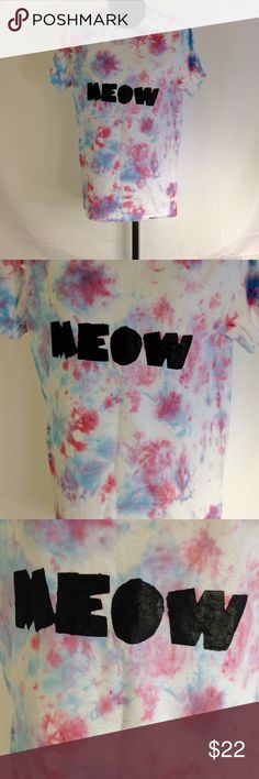 Tie dye shirt Meow shirt cat shirt pastel goth One tie dye t-shirt, dyed the colors pink and blue. The word Meow was painted on it in black. This is a handmade item. Size small. Thanks for looking!  Tops Tees - Short Sleeve