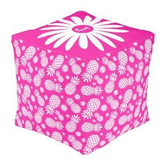 Bright pink girls pineapple and daisy monogram pattern pouf. Original pattern and design by www.sarahtrett.com