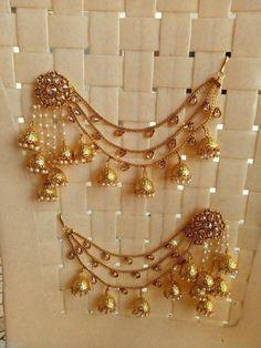 Indian Bahubali Earrings Set Sahara Kaan Chain Bollywood Women Wedding Jewellery #VGJEWEL #jewelleryshops