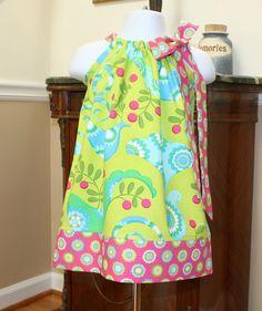 baby girl Pillowcase dress Pretty Bird in Lime by BlakeandBailey, $19.99