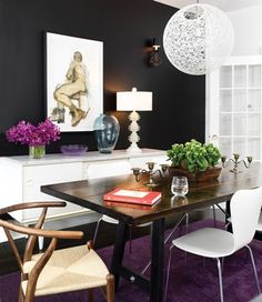 dining room table -- like that it's a little rustic but not chunky, don't like the chrome supports
