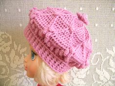 Handmade white baby girls BERET, hand-knitted for baby Girl, 6 - 18 Months, crochet pink hat / beret with diamond pattern by ramutez on Etsy
