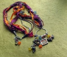 Savannah Long Eclectic Sari Silk Charm necklace by alienbeadings, $49.00