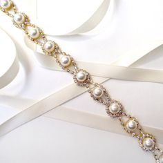 Romantic Pearl and Rhinestone Bridal Belt Sash in GOLD - Extra Long Wedding Dress Belt - Thin Headband or Belt on Etsy, $40.00