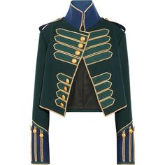 Burberry - Cropped Embellished Wool Jacket - Forest green ~Burberry's impeccably cut jacket plays on its military heritage - the brand's coats were worn by British soldiers in the First World War. Green Blazer, Green Jacket, Smart Jackets, Cropped Blazer, Cropped Jackets, Blazer Jacket, Burberry Jacket, Burberry Sale, Military Style Jackets
